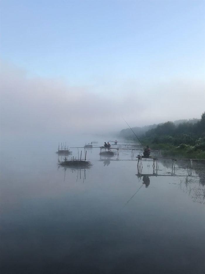 Рыбаки Рыбалка, Ока, Туман, Фотография
