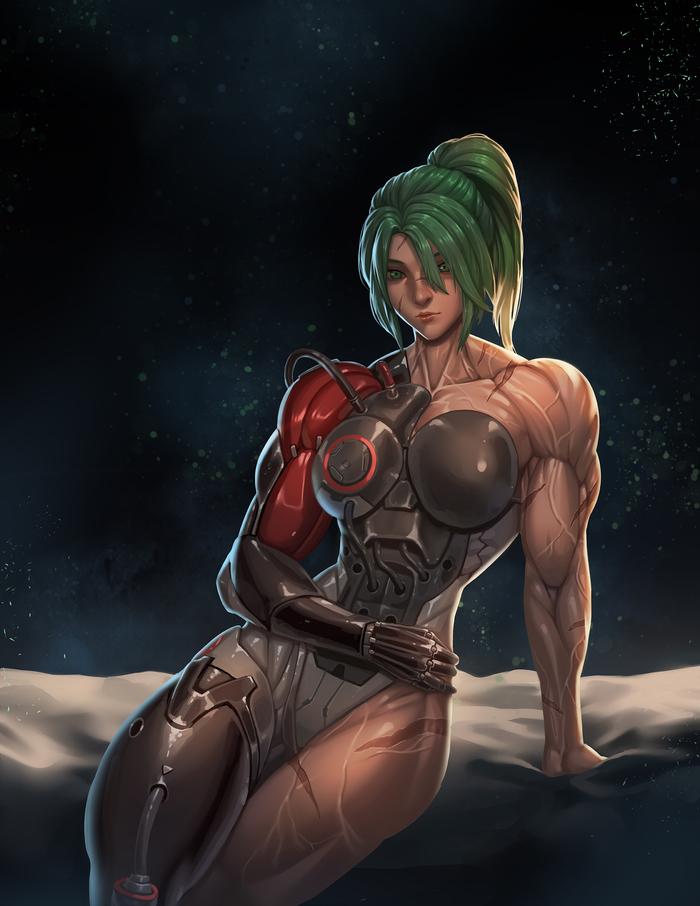 Overwatch: Female Genji Rokupan, Арт, Правило 63, Overwatch, Genji, Киборги, Крепкая девушка