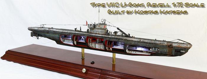 U-Boat Type VIIC Стендовый моделизм, Моделизм, Подводная лодка, Масштабная модель, Сборная модель, Длиннопост