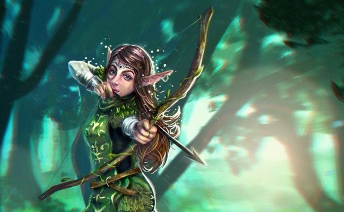 Forest Elf Art Рисунок, Девушки, Эльфы, Лес, Карточная игра, Фэнтези, Цифровой рисунок, Лук