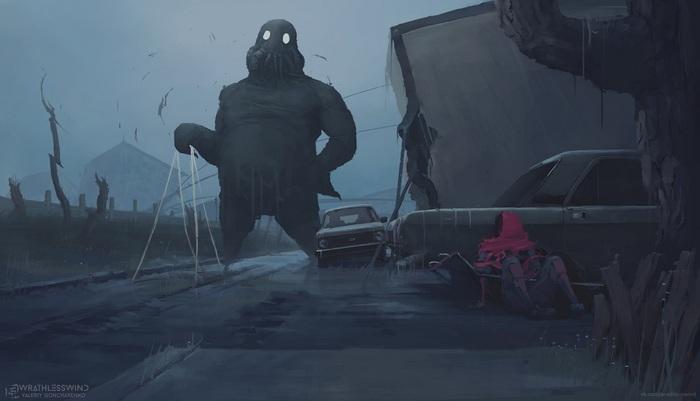 """Порванный мир #14. """"Вечереет"""" VeoWind, Порванный мир, Цифровой рисунок, Темное фэнтези, Научная фантастика, Город, Монстр, Рисунок"""
