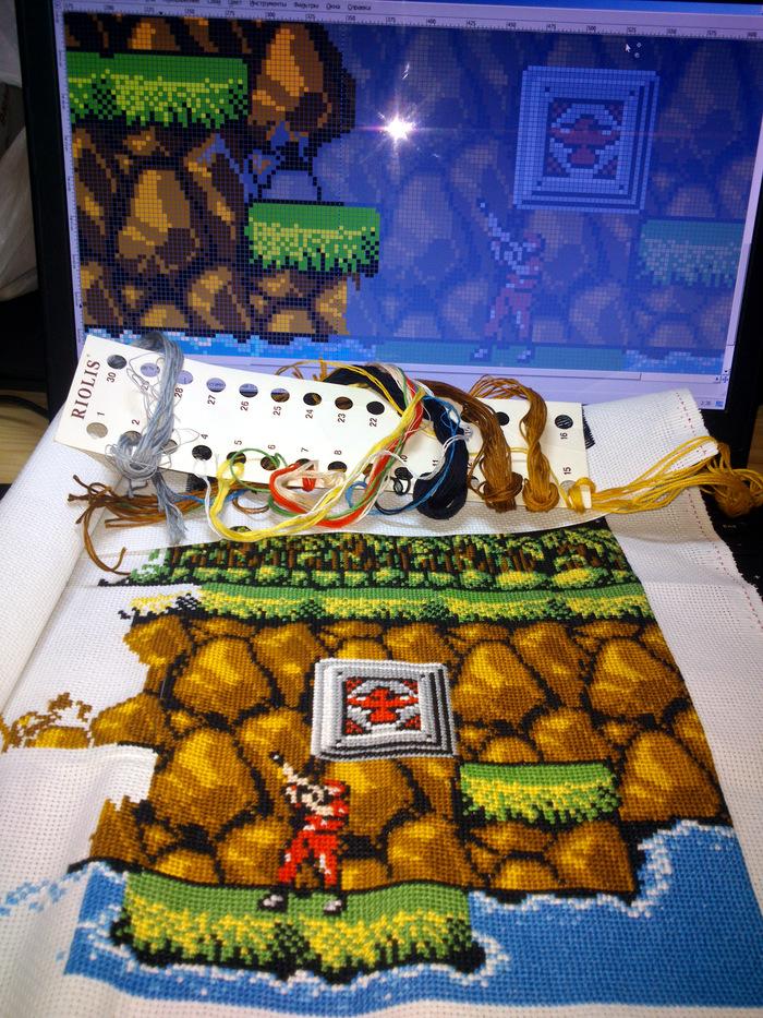 Вышивка Contra Konami (часть 2) Вышивка крестом, Рукоделие с процессом, Рукоделие, Contra, Длиннопост
