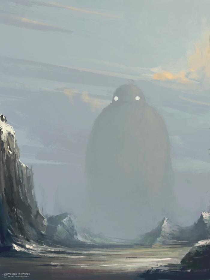 """""""Ты иди, я тут подожду"""" VeoWind, Цифровой рисунок, Пейзаж, Фантастика, Существо, Горы, Облака, Порванный мир"""