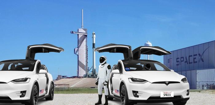 Tesla Model X привезет на стартовую площадку первых космонавтов NASA для полета SpaceX. Spacex, Falcon 9, Crew Dragon, Космос, Илон Маск