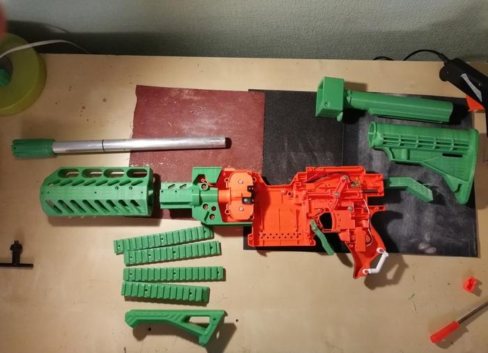 Модификация Nerf в полноценную винтовку Nerf, 3d печать, Переделка, Своими руками, Длиннопост