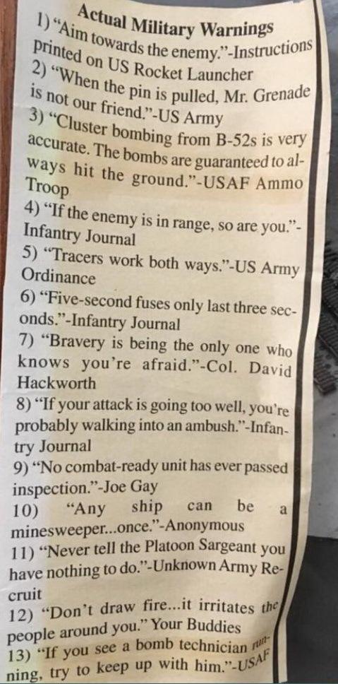 Невыдуманные предупреждения в американских непобедимых вооруженных силах Армия, США, Предупреждение, Оружие