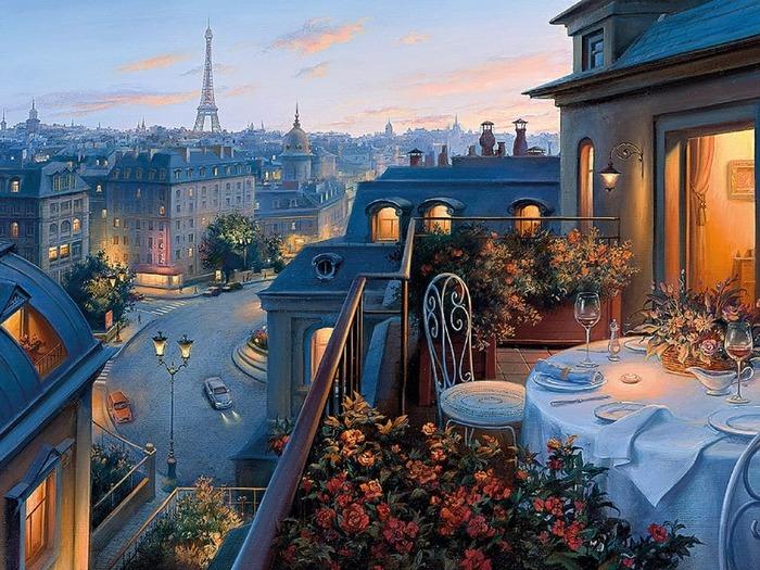 Уютненько Картина, Закат, Уют, Париж