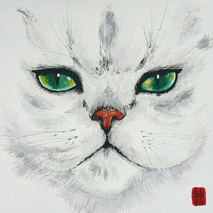 Эти глаза напротив... Кот, Акрил, Картон, Рисунок, Животные, Анималистика