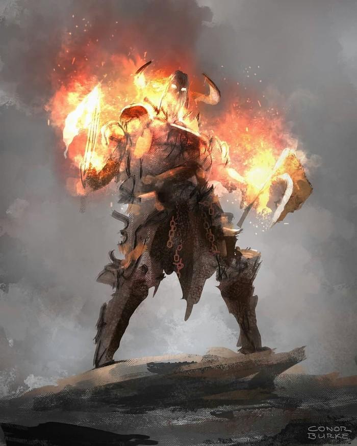 Огненная подборка Воин, Fire, Рыцарь, Skulls, Bones, Длиннопост