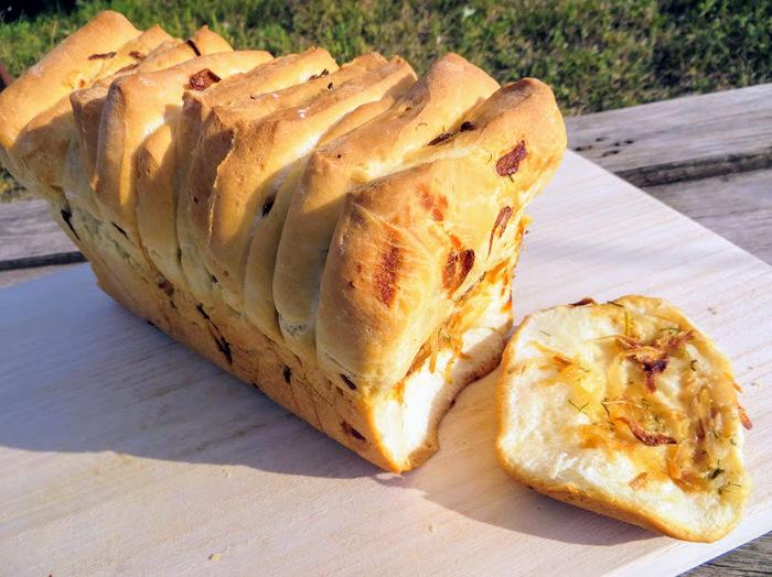 Идеален к любому застолью! Отрывной луковый хлеб! Еда, Вкусно, Рецепт, Хлеб, Приготовление, Другая кухня, Длиннопост, Видео рецепт, Дрожжевое тесто, Видео