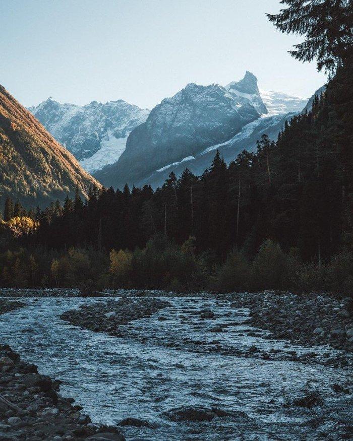 До мурашек спокойное место Фотография, Картинки, Пейзаж, Природа, Ручей, Горы, Лес, Рассвет