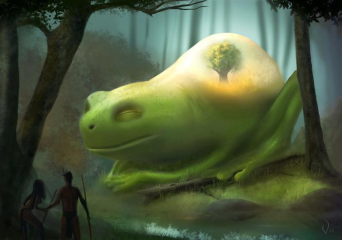 Великий лесной хранитель Лес, Лягушки, Хранители, Фэнтези, Vio, Рисунок, Цифровой рисунок, Photoshop