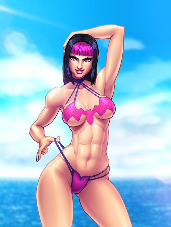 Street Fighter Summer 2018 Jiggeh, Арт, Крепкая девушка, Street Fighter, Rainbow mika, Juri han, Falke, Бикини, Длиннопост