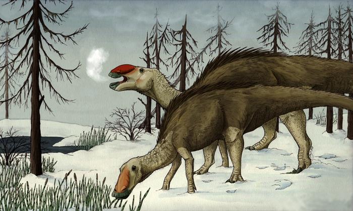 Динозавр зимой Динозавры, Зима, Холод, Палеонтология, Наука, Копипаста, Elementyru