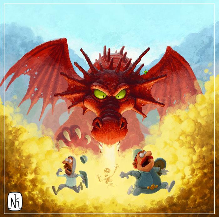 Посещение Утопии Драконов было не самой лучшей идеей... HOMM III, Герои меча и магии, Grzegorz Molas, Красный дракон, Фан-Арт