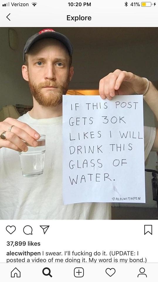 Да он просто псих! Instagram, Псих, Стакан воды, Likes