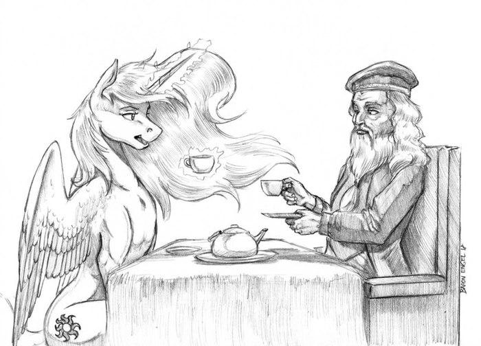Селестия и Дамблдор My little pony, Crossover, Princess Celestia, Ponyart, Гарри Поттер, Альбус Дамблдор