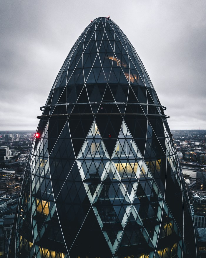 Лондон, Небоскрёб The Gherkin Фотография, Дрон, Квадрокоптер, Лондон, Великобритания, Небоскреб, Город, Европа