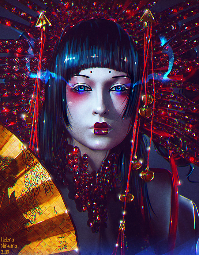 Ruby Geisha. Арт, Елена Никулина, Гейша, Рубин, Веер, Портрет, Азия