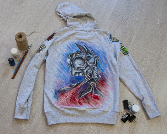 Кофта с ручной росписью Кофта, Одежда, Роспись по ткани, Длиннопост, Starcraft, Ручная работа