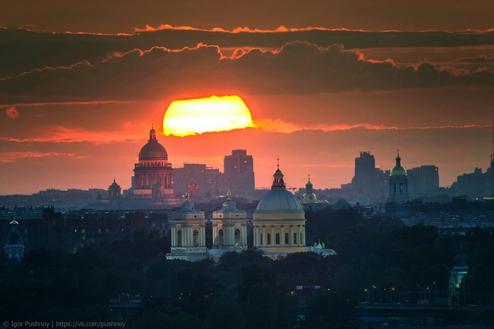 Пламенеющее небо над Питером Небо, Санкт-Петербург, Фото без текста