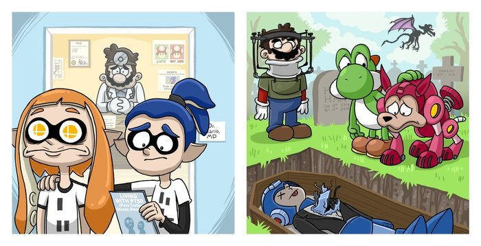 Актеры Super smash bros, Комиксы, Актеры, Megaman, Luigi, Yoshi, Марио