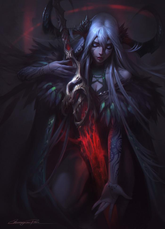 The Blood of Demon Арт, Фэнтези, Девушки, Демон, DTPArt