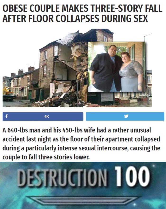 Тучная пара провалилась на три этажа во время секса Секс, Толстый, Пара, Обрушение, Дом