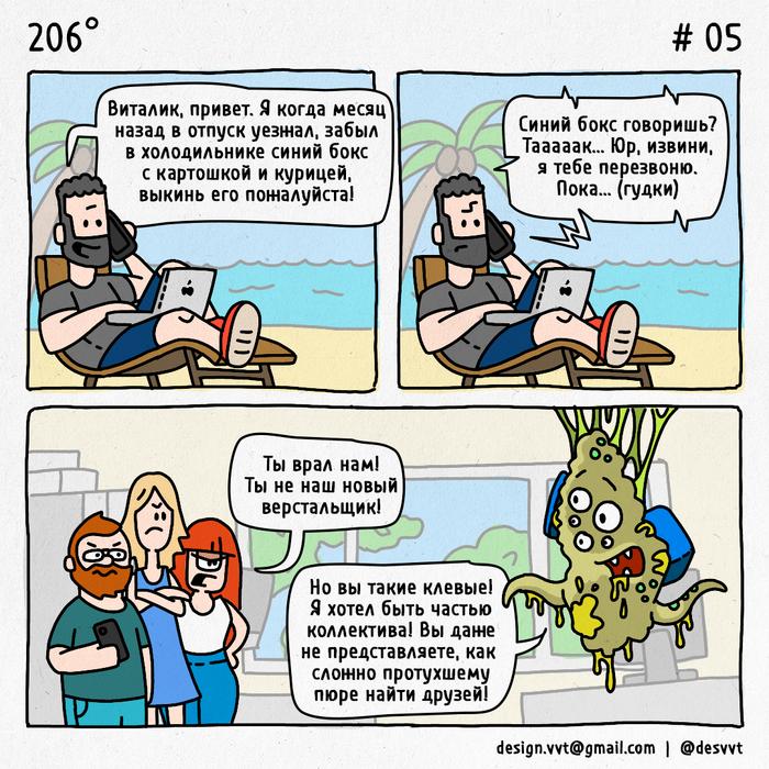 206° #5 Про еду Коллеги, Отпуск, Айтишники, Верстальщик, Офис, 206, Холодильник