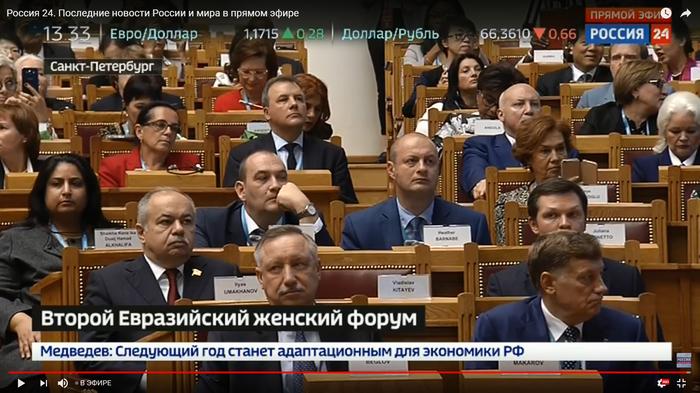 Вести 24. Скрин зала из выступления Путина на Втором Евразийском ЖЕНСКОМ форуме.