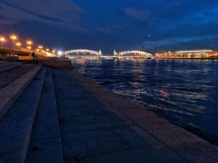 Теплый вечер Набережная, Ночь, Фотография, Санкт-Петербург, Большеохтинский мост, Смольный собор, Панорама, Луна