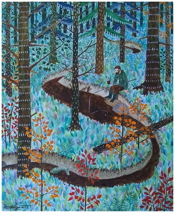 Рыбалка ранней осенью Рисунок, Графика, Акварель, Рыбалка, Осень, Лес, Природа