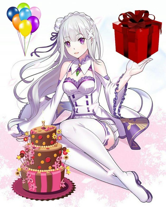А сегодня у Эмилии день рождения Аниме, Re:Zero kara, Emilia, День рождения, Длиннопост, Anime Art