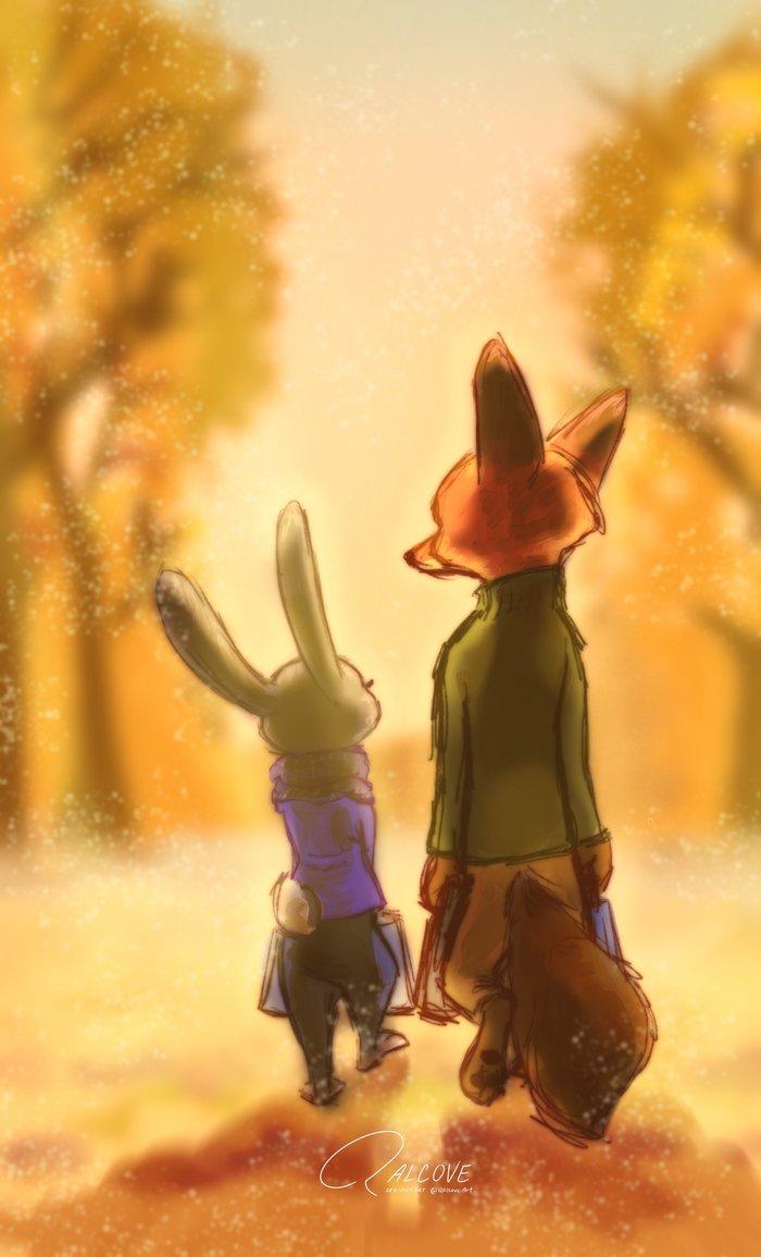 Прощай лето, здравствуй осень... Зверополис, Zootopia, Ник и Джуди, Арт, Qalcove