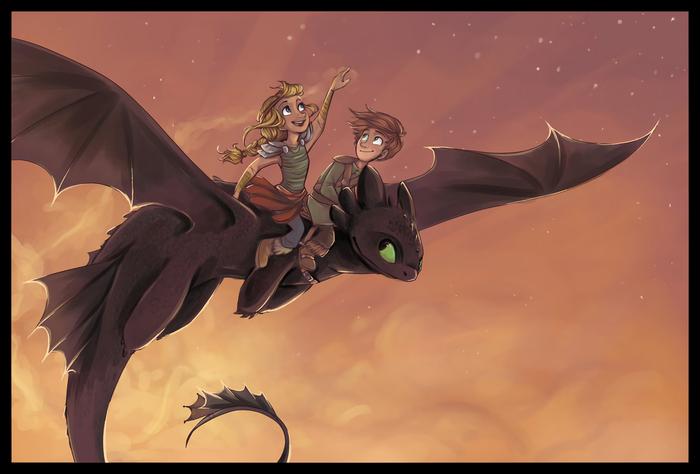 Romantic Flight Арт, Как приручить дракона, Астрид, Иккинг, Беззубик, Дракон