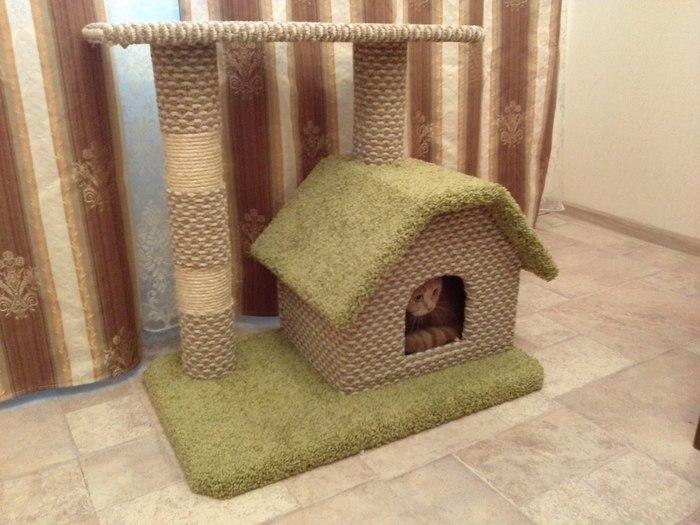 Будка для кошки Когтеточка с домиком, Кошкин дом, Рукоделие, Длиннопост, Кот