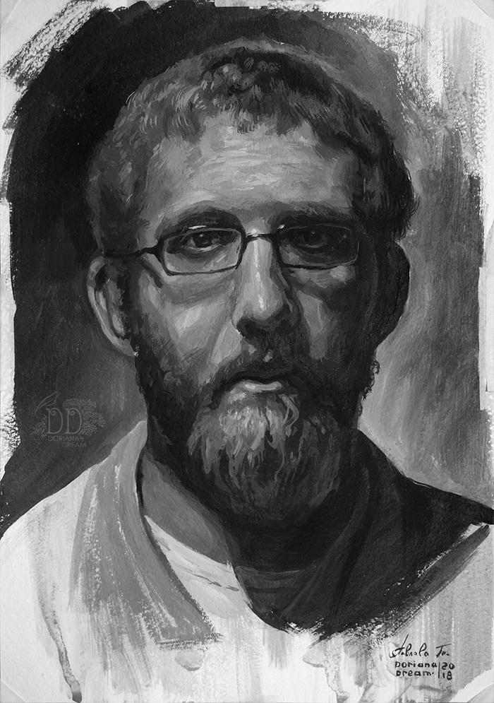 Этюдный портрет мужчины (гуашь) Гуашь, Портрет, Этюд, Живопись, Арт, Портреты людей, Скетч, Рисунок