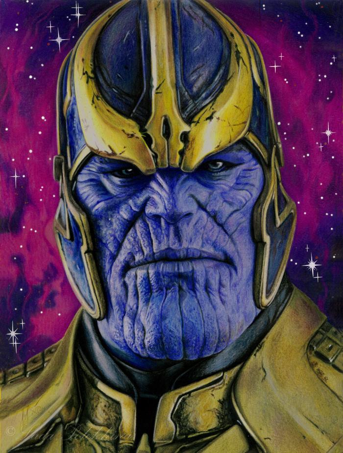 """Рисунок цветными карандашами. """"Танос"""" Портрет, Танос, Стражи Галактики, Цветные карандаши, Рисунок, Фильмы, Marvel"""