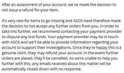 Коротко о ASOS Asos, Интернет-Магазин, Мошенничество, Возврат, Длиннопост, Без рейтинга