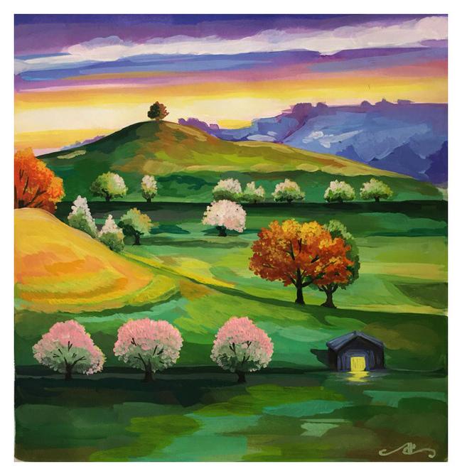 Пейзаж, навеянный осенью (Гуашь)