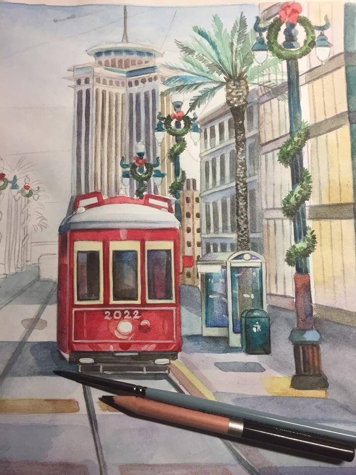 Бесснежное Рождество в Европе (Акварель) Творчество, Город, Рисунок, Акварель, Okta23, Длиннопост, Улица, Трамвай