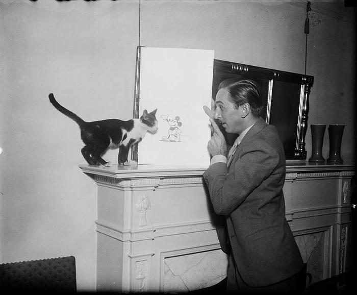 Уолт Дисней показывает коту, как выглядит мышь