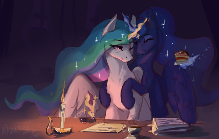 Лучшие сёстры My Little Pony, Princess Celestia, Princess Luna, Ponyart