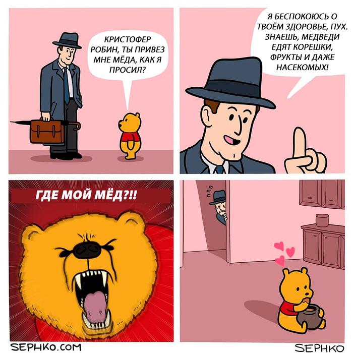 Мишка очень любит мёд