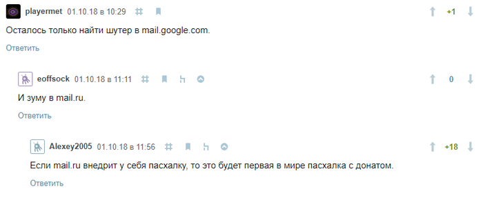 Пасхалки Google vs Mail.ru Комментарии, Mailru, Google, Пасхалка, Reddit
