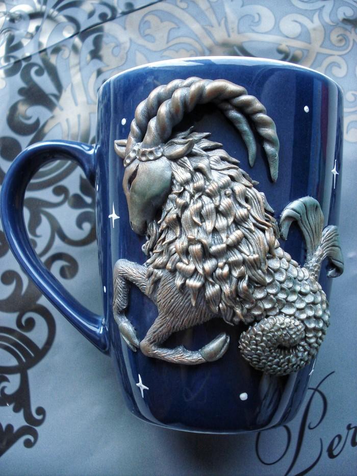 Козерог Полимерная глина, Козерог, Декор кружки, Polimer clay, Длиннопост