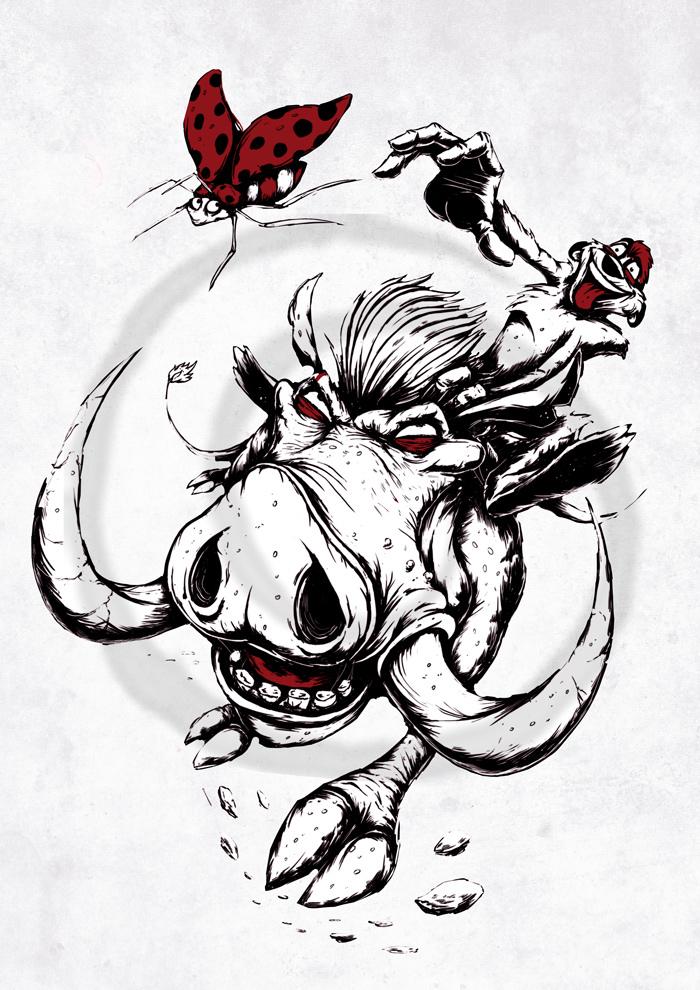 Тимон и Пумба Тимон и Пумба, Король лев, Hakuna matata, Длиннопост, Мультфильм, Дисней, Рисунок, Цифровой рисунок