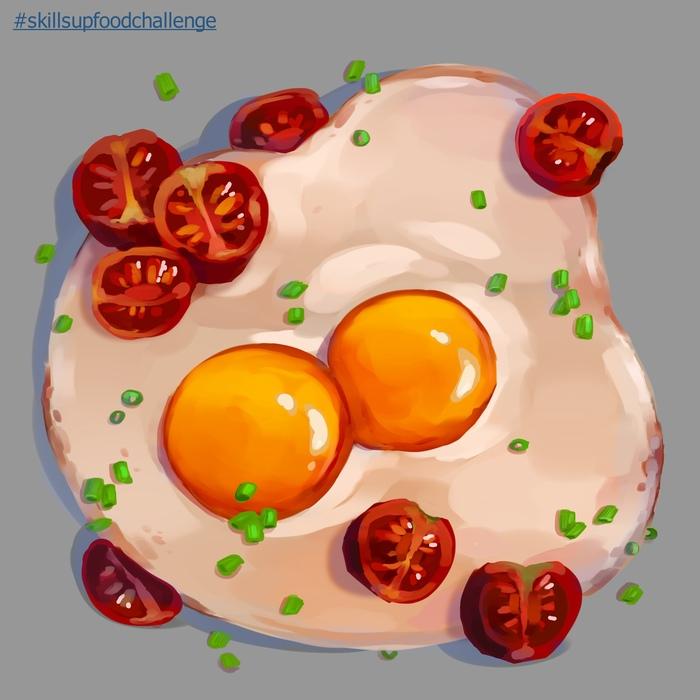 Немного еды Еда, Завтрак, Рисунок, Цифровой рисунок, Яичница