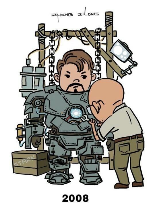 Эволюция надевания брони Железного человека. Железный человек, Marvel, Тони Старк, Броня, Фильмы, Киновселенная Marvel, Длиннопост