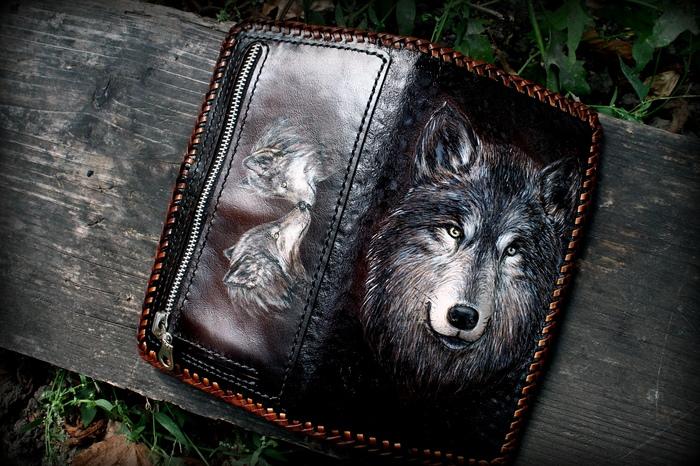 Кожаное портмоне Волк.. Для тех кто любит размерчик побольше))) Волк, Волчья верность, Тиснение по коже, Кошелек, Кошелёк с волком, Рукоделие с процессом, Длиннопост, Кожа